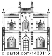 Clipart Of A Black And White Line Drawing Styled Brazilian Landmark Portuguese Royal Public Library Royalty Free Vector Illustration