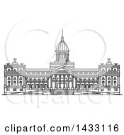 Clipart Of A Black And White Line Drawing Styled Argentine Landmark Palace Of The Argentine National Congress Royalty Free Vector Illustration