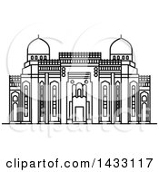 Clipart Of A Black And White Line Drawing Styled Egyptian Landmark Abu Al Abbas Al Mursi Royalty Free Vector Illustration by Vector Tradition SM