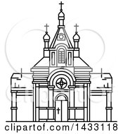 Clipart Of A Black And White Line Drawing Styled Egyptian Landmark Saint Virgin Mary Church Royalty Free Vector Illustration