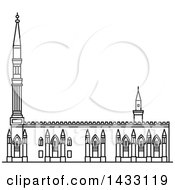 Clipart Of A Black And White Line Drawing Styled Egyptian Landmark Al Hussein Royalty Free Vector Illustration by Vector Tradition SM