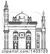 Clipart Of A Black And White Line Drawing Styled Egyptian Landmark Mosque Madrassa Of Sultan Hassan Royalty Free Vector Illustration by Vector Tradition SM