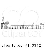 Clipart Of A Black And White Line Drawing Styled Egyptian Landmark Al Azhar Mosque Royalty Free Vector Illustration by Vector Tradition SM