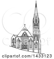 Clipart Of A Black And White Line Drawing Styled New Zealand Landmark Presbyterian Knox Church Royalty Free Vector Illustration