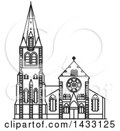 Clipart Of A Black And White Line Drawing Styled New Zealand Landmark ChristChurch Cathedral Royalty Free Vector Illustration