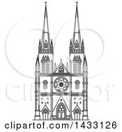 Clipart Of A Black And White Line Drawing Styled Australian Landmark St Mary Cathedral Royalty Free Vector Illustration