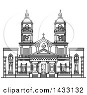 Clipart Of A Black And White Line Drawing Styled Uruguay Landmark Cathedral Of Mercedes Royalty Free Vector Illustration