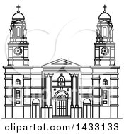 Clipart Of A Black And White Line Drawing Styled Uruguay Landmark Church Of Our Lady Of The Mount Carmel Royalty Free Vector Illustration