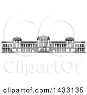 Clipart Of A Black And White Line Drawing Styled American Landmark Museum Of Fine Arts Royalty Free Vector Illustration