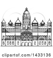 Clipart Of A Black And White Line Drawing Styled American Landmark The Old Red Museum Of Dallas Royalty Free Vector Illustration