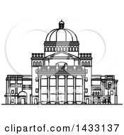 Clipart Of A Black And White Line Drawing Styled American Landmark The First Church Of Christ Royalty Free Vector Illustration
