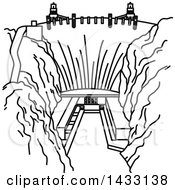Clipart Of A Black And White Line Drawing Styled American Landmark Hoover Dam Royalty Free Vector Illustration by Vector Tradition SM