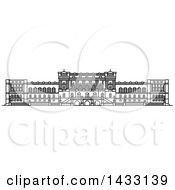 Clipart Of A Black And White Line Drawing Styled American Landmark Library Of Congress Building Royalty Free Vector Illustration