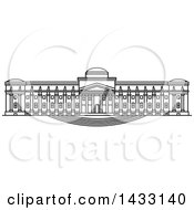 Clipart Of A Black And White Line Drawing Styled American Landmark Brooklyn Museum Royalty Free Vector Illustration