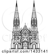 Clipart Of A Black And White Line Drawing Styled American Landmark St Patrick Cathedral Royalty Free Vector Illustration
