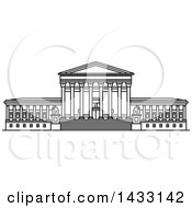 Clipart Of A Black And White Line Drawing Styled American Landmark United States Supreme Court Building Royalty Free Vector Illustration
