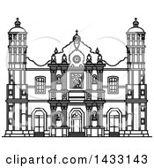 Clipart Of A Black And White Line Drawing Styled Mexican Landmark Our Lady Of Guadalupe Basilica Royalty Free Vector Illustration
