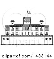 Clipart Of A Black And White Line Drawing Styled Mexican Landmark Chapultepec Castle Royalty Free Vector Illustration