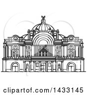 Clipart Of A Black And White Line Drawing Styled Mexican Landmark Mexico Palace Of Fine Arts Royalty Free Vector Illustration