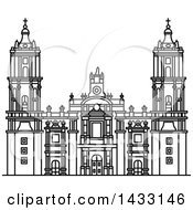 Clipart Of A Black And White Line Drawing Styled Mexican Landmark Metropolitan Cathedral Royalty Free Vector Illustration