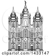 Clipart Of A Black And White Line Drawing Styled American Landmark Salt Lake Temple Utah Royalty Free Vector Illustration