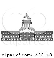 Clipart Of A Black And White Line Drawing Styled American Landmark Utah State Capitol Building Royalty Free Vector Illustration