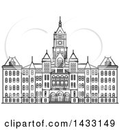 Clipart Of A Black And White Line Drawing Styled American Landmark Salt Lake City And County Building Royalty Free Vector Illustration