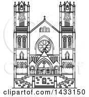 Clipart Of A Black And White Line Drawing Styled American Landmark Cathedral Of The Madeleine Royalty Free Vector Illustration
