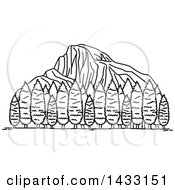 Clipart Of A Black And White Line Drawing Styled American Landmark Yosemite National Park Royalty Free Vector Illustration