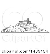 Clipart Of A Black And White Line Drawing Styled American Landmark Alcatraz Island Royalty Free Vector Illustration