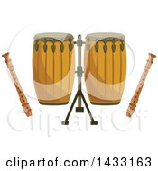 Clipart Of Conga Drums And Recorders Royalty Free Vector Illustration by Vector Tradition SM