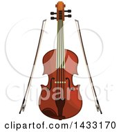 Clipart Of A Violin And Bows Royalty Free Vector Illustration by Vector Tradition SM