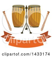 Clipart Of Conga Drums And Recorders Over A Blank Banner Royalty Free Vector Illustration by Vector Tradition SM
