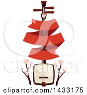 Japanese Biwa Lute Instrument With Cherry Blossom Branches And A Blank Banner