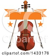 Clipart Of A Violin And Bows With Stars And A Banner Royalty Free Vector Illustration by Vector Tradition SM