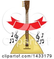 Balalaika Instrument With Music Notes And A Banner