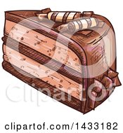 Clipart Of A Sketched Slice Of Chocolate Cake Royalty Free Vector Illustration