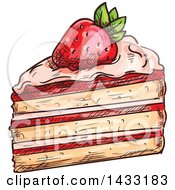 Clipart Of A Sketched Slice Of Strawberry Cake Royalty Free Vector Illustration by Vector Tradition SM