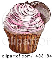 Clipart Of A Sketched Cupcake Royalty Free Vector Illustration by Vector Tradition SM