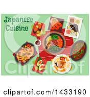 Clipart Of A Table Set With Japanese Cuisine With Text Royalty Free Vector Illustration