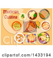 Clipart Of A Table Set With Mexican Cuisine With Text Royalty Free Vector Illustration