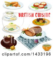 Clipart Of British Cuisine With Text Royalty Free Vector Illustration