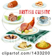 Clipart Of British Cuisine With Text Royalty Free Vector Illustration by Vector Tradition SM