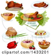 Clipart Of Hungary Cuisine With Text Royalty Free Vector Illustration