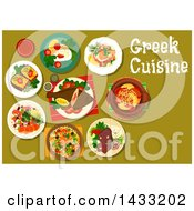 Clipart Of A Table Set With Greek Cuisine With Text Royalty Free Vector Illustration