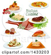 Clipart Of Italian Cuisine With Text Royalty Free Vector Illustration