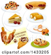 Clipart Of Eastern European Cuisine With Text Royalty Free Vector Illustration