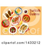 Table Set With Turkish Cuisine With Text