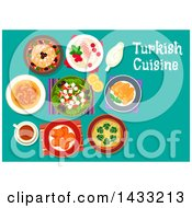 Clipart Of A Table Set With Turkish Cuisine With Text Royalty Free Vector Illustration