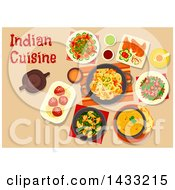 Clipart Of A Table Set With Indian Cuisine With Text Royalty Free Vector Illustration by Vector Tradition SM